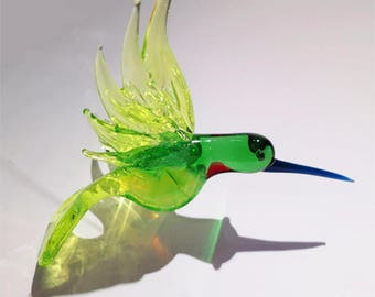 Hand blown Glass Hummingbird Figurine Small