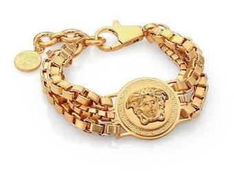 Bijoux Triple Chain Medusa Bracelet
