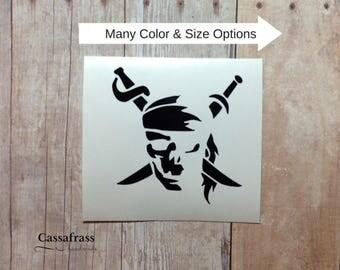 Pirate Skull Skeleton Vinyl Car Decal Sticker | Caribbean Jack Sparrow Laptop Keyboard Phone YETI Tumbler Window Truck SUV Mug, Planner Cove