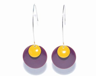 Earrings sleepers sequins plum and dark yellow