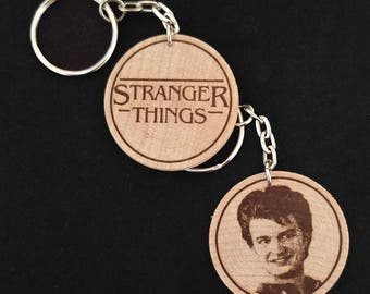 Steve Harrington Joe Keery Stranger Things Engraved Wood Keyring Keychain by JayEngrave