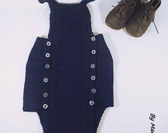 Barboteuse bébé (12 mois) tricoté main en coton 100 % fil fin et doux bleu marine