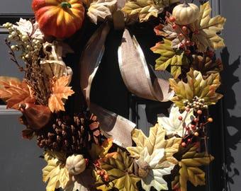 Pumpkin, Leaves, and Berries Autumn Wreath