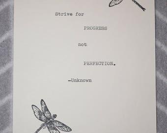 Inspiring Quote Typed on Typewriter