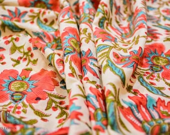 Multicolor Floral Block Print Cotton Fabric