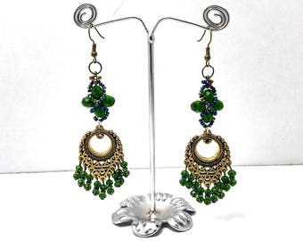 Long Dangle Earrings, Chandelier Earrings, Ethnic Earrings, Beaded Earrings, Chandelier Earring, Long green earrings, Dark Green Earrings