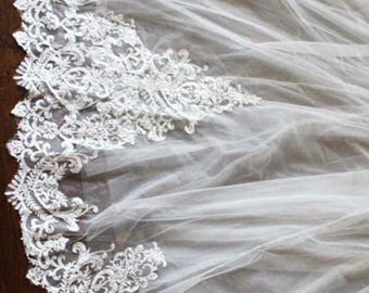 Amanda Cathedral 2 Tiers Lace Veil With Comb