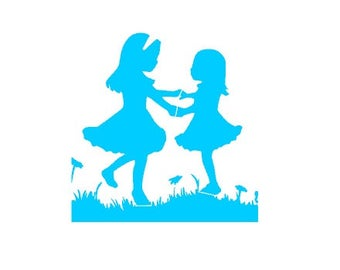 Children, Best Friends, Girls Playing, Cookie Stencil