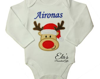 Christmas embroidered bodysuits with applique reindeer short or long sleeve made to order