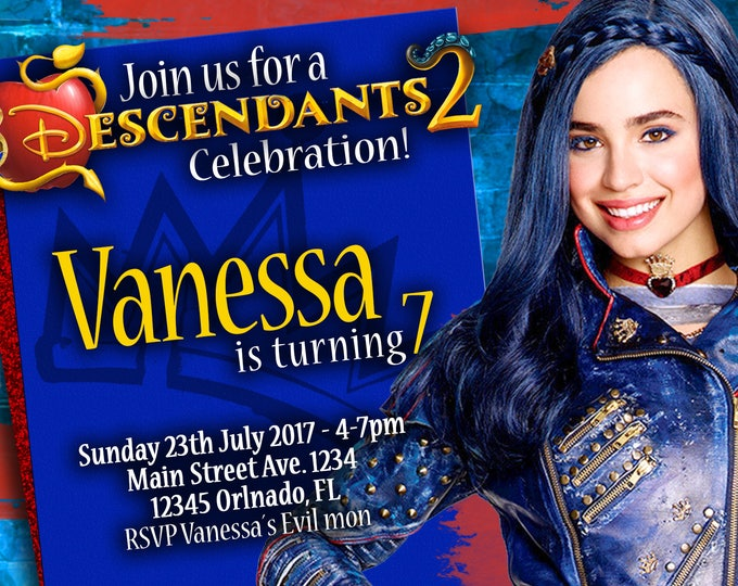 Birthday Invitation Disney Descendants 2 EVIE
