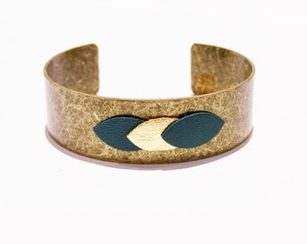 Cuff Bracelet and peacock blue and gold leather petal
