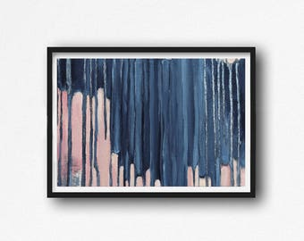 Printable Art,  Art Poster, Digital Download, Wall Decor, navy blue and pink, modern abstract, scandinavian design, pink, blush pink ,mint