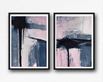 Set of 2 Prints, Abstract Art Prints, Large Wall Art, Printable Abstract Art, blue and Pink, instant download Art, Pink Art set, black grey
