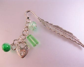 Feather Heart Lock Hand Made Personalized Book Mark w/Green Colored Glass Bead