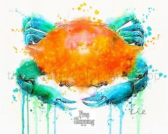 Blue Crab Watercolor Crab in Watercolor Crab Lobster prints crab watercolor paintings crab watercolor prints blue crab watercolor painting