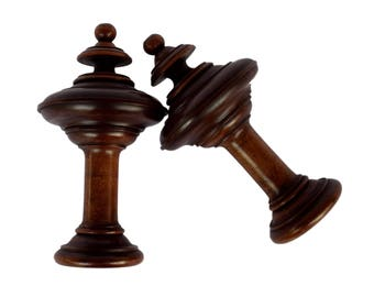 french antique pair of wood curtain rod finials tiebacks salvage wood newel post