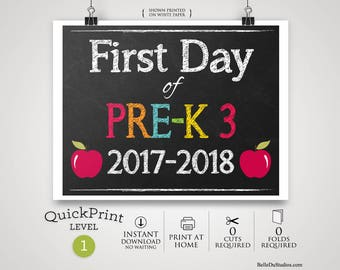 50% OFF SALE - Printable First Day of Pre-K 3 Sign, First Day of School Sign, Instant Download, Print at Home, No Waiting