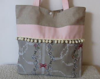 Tote bag-totebag-handbag Bohemian/romantic damask patterned afleurs and bows in pink and ecru nymeriacreation