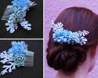 Winter wedding hair comb Blue flower comb Bridal hair comb Hydrangea hair piece Floral comb Light blue wedding comb for hair flower comb