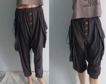 Long Pants Quality Harem Genie Zen Sports Chic Draw Pockets  Jersey Cotton Dk Gray