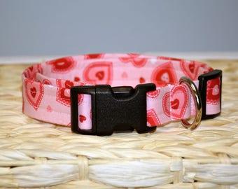 Dog Collar - Valentine's Day Dog Collar - Hearts Dog Collar – Pink & Red Hearts Dog Collar – Valentine's Day Print Dog Collar