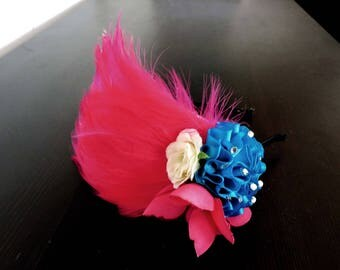 Pink Feather Art Deco Headband Flapper Great Gatsby Fascinator