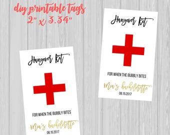 DIY Digital Customized Hangover Kit Tags | Bachelorette Party | Wedding | 21st Birthday | 30th Birthday | Recovery Kit Tags | Printable