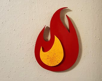 """Large Round Flame Wooden Fire Art Cutout  11"""" x 7.25"""" Wood cut out"""