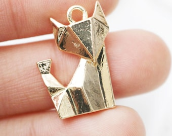 set of 10, gold fox charm, animal charms, cute fox charms, woodland charms, wholesale charms, bright gold, metal charms,