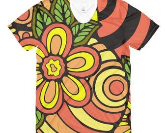 Sublimation women's crew neck t-shirt, Flower T-Shirt