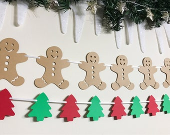Christmas Bunting, Tree Garland, Festive Garland, Christmas Tree Bunting, Paper Garland, Tree Decoration, Xmas Garland, Holiday Decoration
