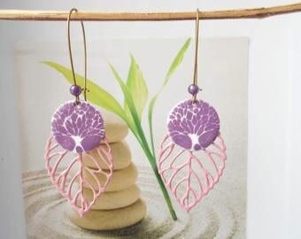 leaf earrings Pink Purple sequin