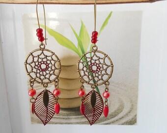 bronze sequin earrings Red