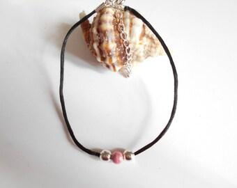Pink black bead cord anklet