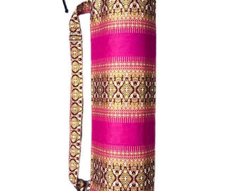 Handmade Thai Purple and Gold Print Fabric Yoga And Pilates Mat bag Carrier