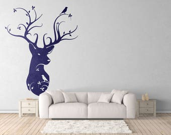 Naturalist Style Deer Head - Wall decals for magical minds | Nature - Birds - Home Decor | Interior Design | Mystic collection