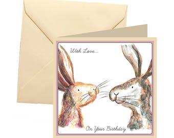 Rabbit birthday card, blank card, greetings card, birthday card, rabbit blank card, rabbit card, bunny birthday card