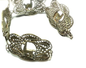 Vintage Lama Peruvian Stamped 925 Lace Filigree Silver Four Links Camelidae