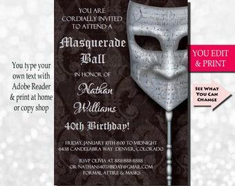 40th Birthday Invitation, Men's 40th Birthday Invitation, Mens Birthday Invitation, Casanova Masquerade, Invitation, EDIT YOURSELF  in Adobe