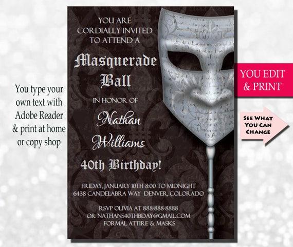 40th Birthday Invitation Mens 40th Birthday Invitation – Masquerade Birthday Invitations