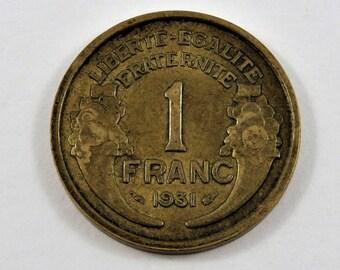 France 1931 One Franc Coin.
