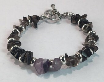 Handmade Men's Genuine Smokey Quartz and Purple Amethyst Gemstone Bracelet Jewelry Men's Smokey Quartz Bracelet Men's Amethyst bracelet