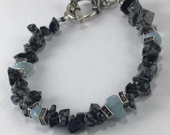 Handmade Men's Genuine Snowflake Obsidian Bracelet Men's Aquamarine Bracelet Men's Obsidian Bracelet Scorpio Jewelry Aries jewelry