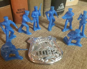 Blue Plastic Policemen with Plastic Police Force Badge/Marx Style Toys/Upcycle Cake/Cupcake Topper/Blue Men/Pretend Play Police Officer