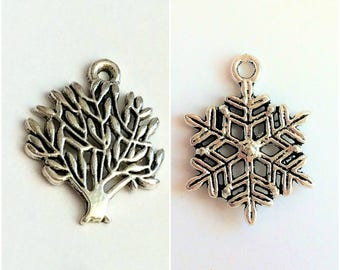 2 pcs Tibet silver snow flakes and tree Pendant, charms, jewelry findings,hanger