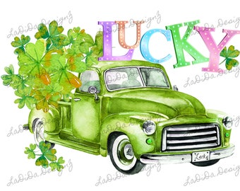 Lucky Watercolor Clovers Green Truck St. Patrick's Day Sublimation Transfers Four Leaf