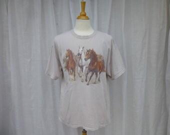 Vintage 90s Wild Horses Western 100% Cotton T-Shirt XL Beige Hanes Polar Graphic USA Horse Stallion Cowboy Rodeo Riding Hipster Glam Garb