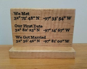 Engraved wood GPS coordinates