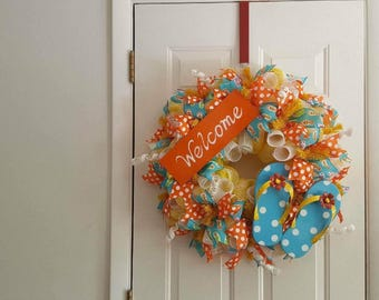 Summer flip flop welcome wreath/ Summer wreath/ Flip flops/ Welcome decor