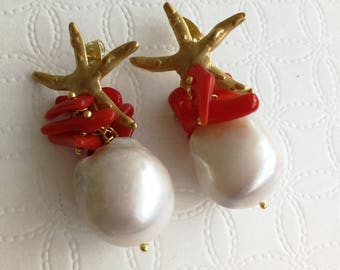 White Baroque pearl earrings and coral, starfish earrings